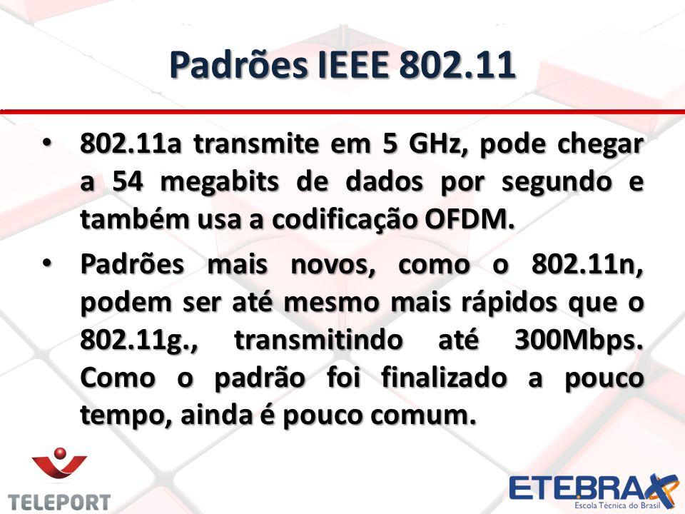 Padrões IEEE 802.11 802.11a transmite em 5 GHz, pode chegar a 54 megabits de dados por segundo e também usa a codificação OFDM. 802.11a transmite em 5