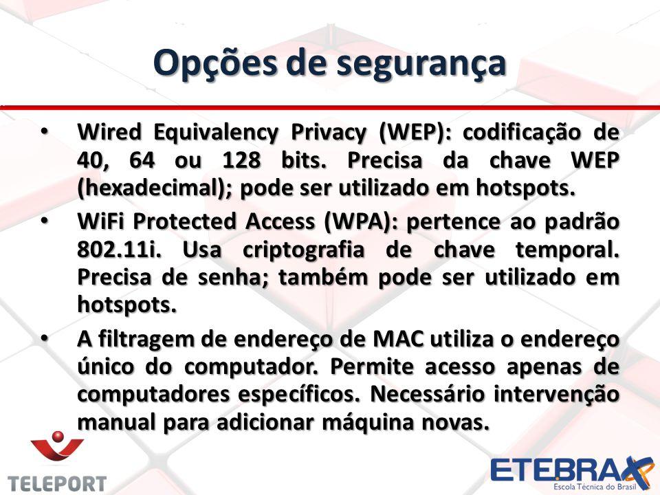 Opções de segurança Wired Equivalency Privacy (WEP): codificação de 40, 64 ou 128 bits. Precisa da chave WEP (hexadecimal); pode ser utilizado em hots