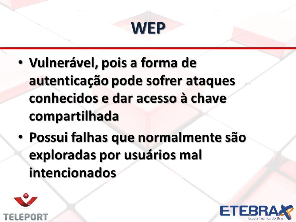 WEP Vulnerável, pois a forma de autenticação pode sofrer ataques conhecidos e dar acesso à chave compartilhada Vulnerável, pois a forma de autenticaçã
