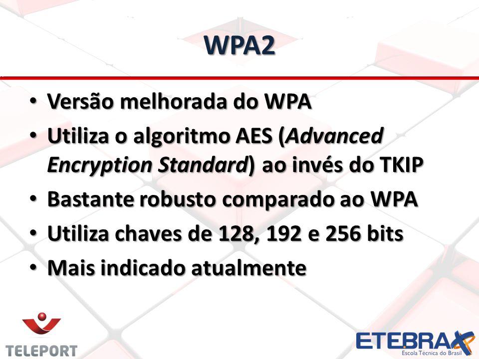 WPA2 Versão melhorada do WPA Versão melhorada do WPA Utiliza o algoritmo AES (Advanced Encryption Standard) ao invés do TKIP Utiliza o algoritmo AES (