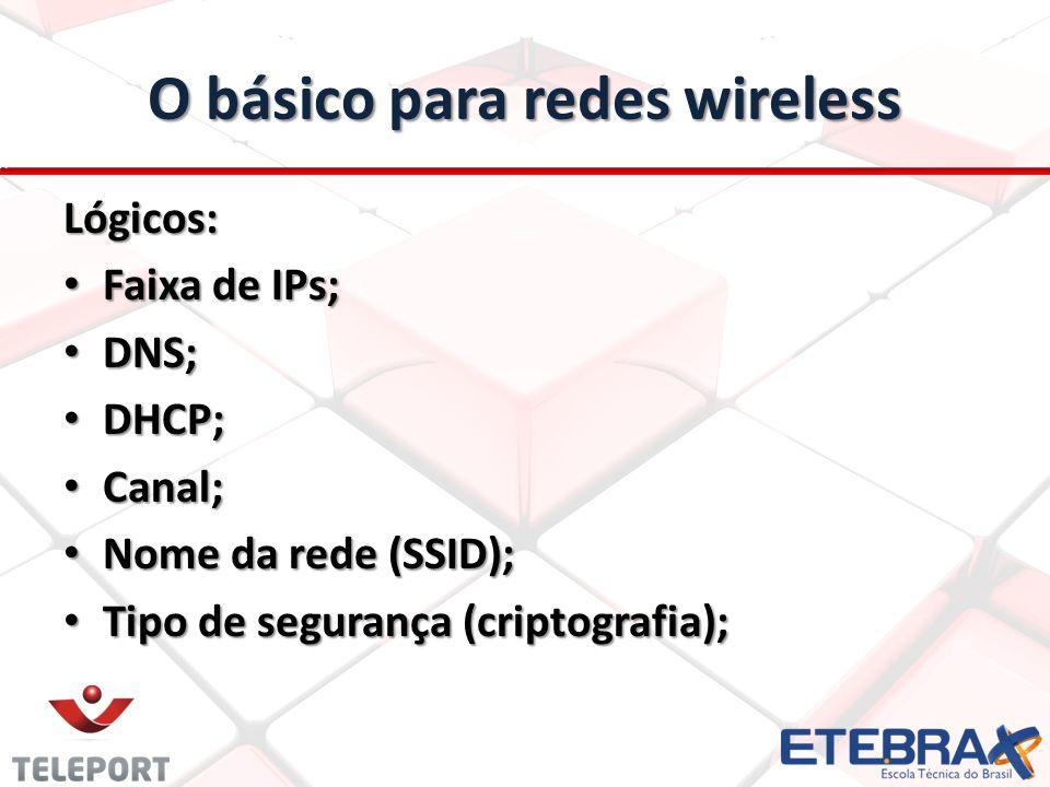 O básico para redes wireless Lógicos: Faixa de IPs; Faixa de IPs; DNS; DNS; DHCP; DHCP; Canal; Canal; Nome da rede (SSID); Nome da rede (SSID); Tipo d