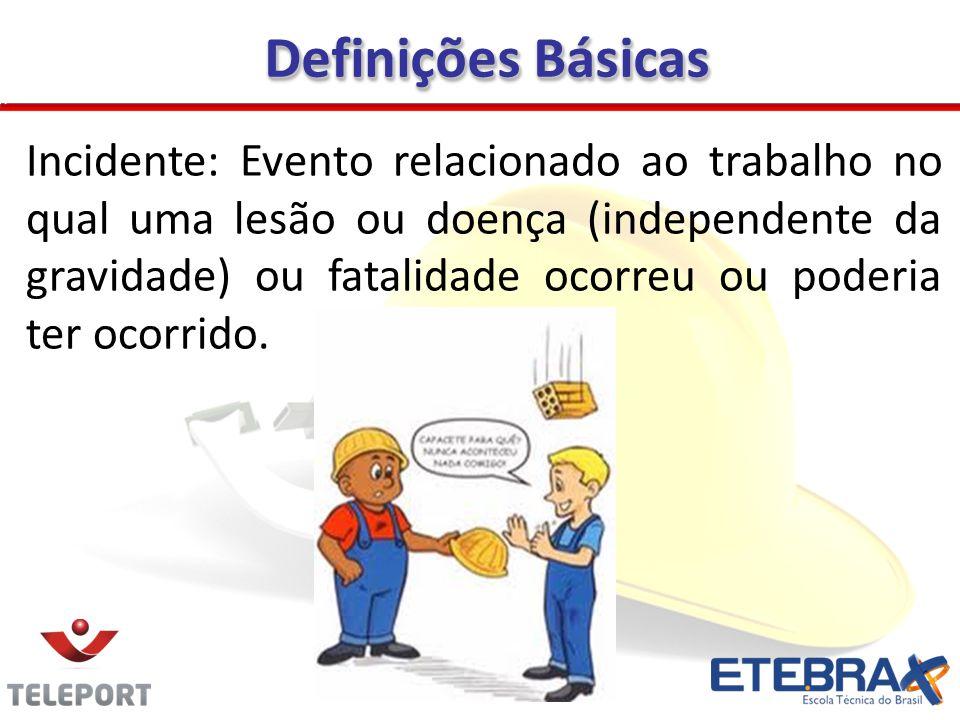 Incidente: Evento relacionado ao trabalho no qual uma lesão ou doença (independente da gravidade) ou fatalidade ocorreu ou poderia ter ocorrido. Defin