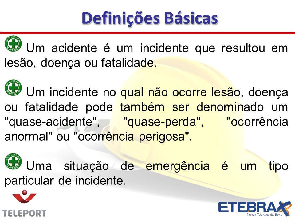 Um acidente é um incidente que resultou em lesão, doença ou fatalidade. Um incidente no qual não ocorre lesão, doença ou fatalidade pode também ser de