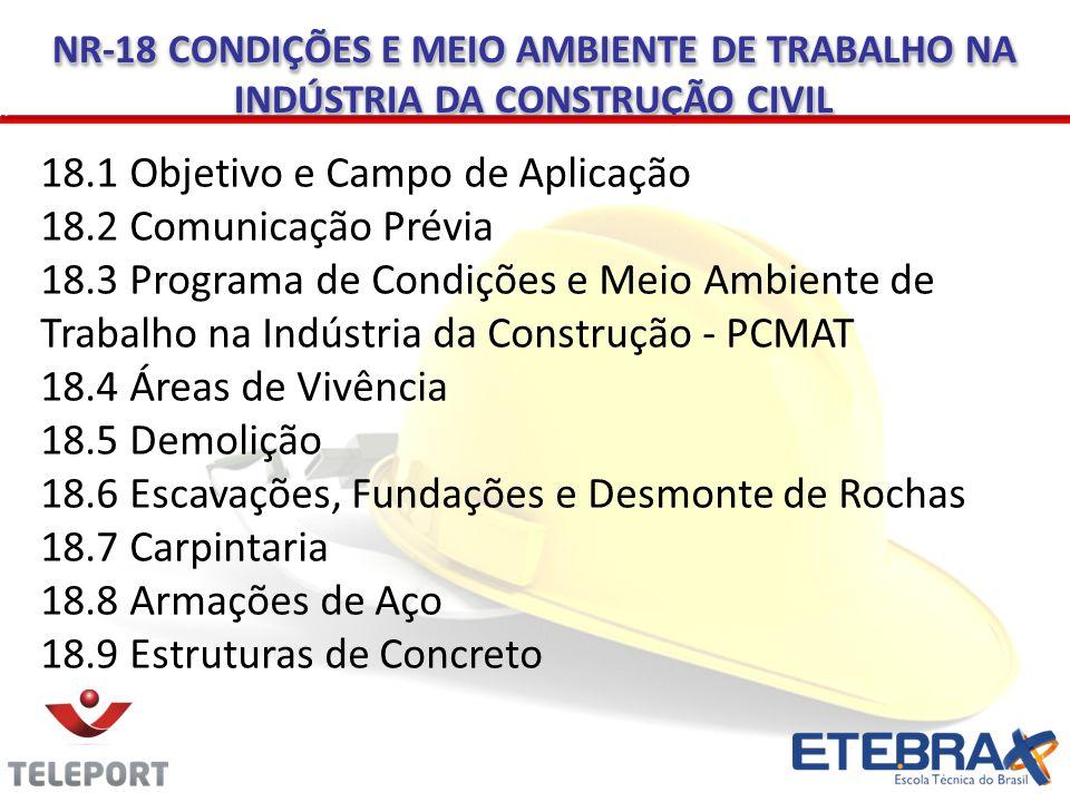 NR-18 CONDIÇÕES E MEIO AMBIENTE DE TRABALHO NA INDÚSTRIA DA CONSTRUÇÃO CIVIL 18.1 Objetivo e Campo de Aplicação 18.2 Comunicação Prévia 18.3 Programa