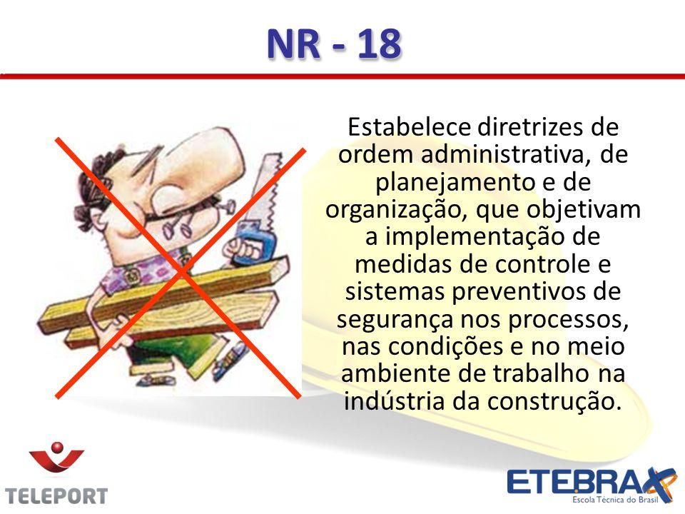 NR - 18 Estabelece diretrizes de ordem administrativa, de planejamento e de organização, que objetivam a implementação de medidas de controle e sistem