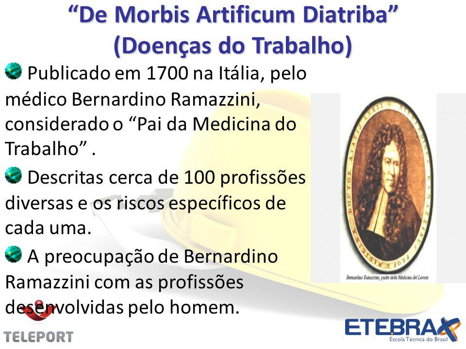 De Morbis Artificum Diatriba (Doenças do Trabalho) Publicado em 1700 na Itália, pelo médico Bernardino Ramazzini, considerado o Pai da Medicina do Tra