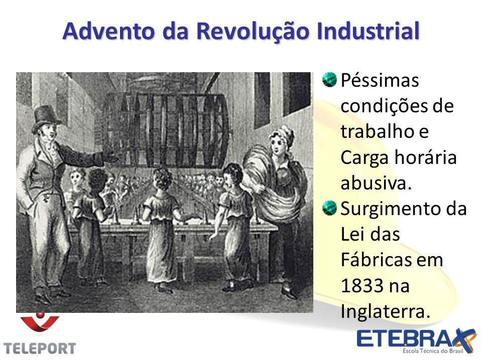 Advento da Revolução Industrial Péssimas condições de trabalho e Carga horária abusiva. Surgimento da Lei das Fábricas em 1833 na Inglaterra.