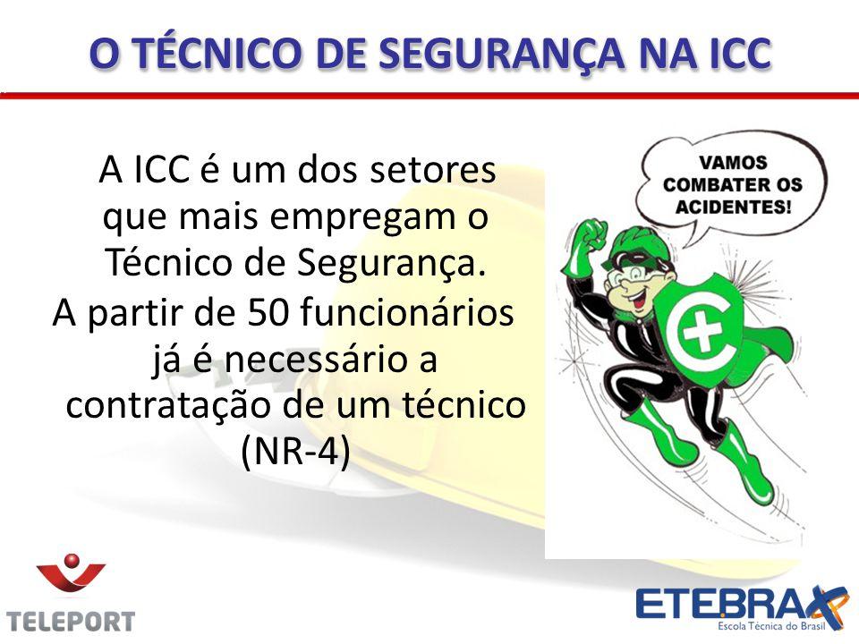 O TÉCNICO DE SEGURANÇA NA ICC A ICC é um dos setores que mais empregam o Técnico de Segurança. A partir de 50 funcionários já é necessário a contrataç