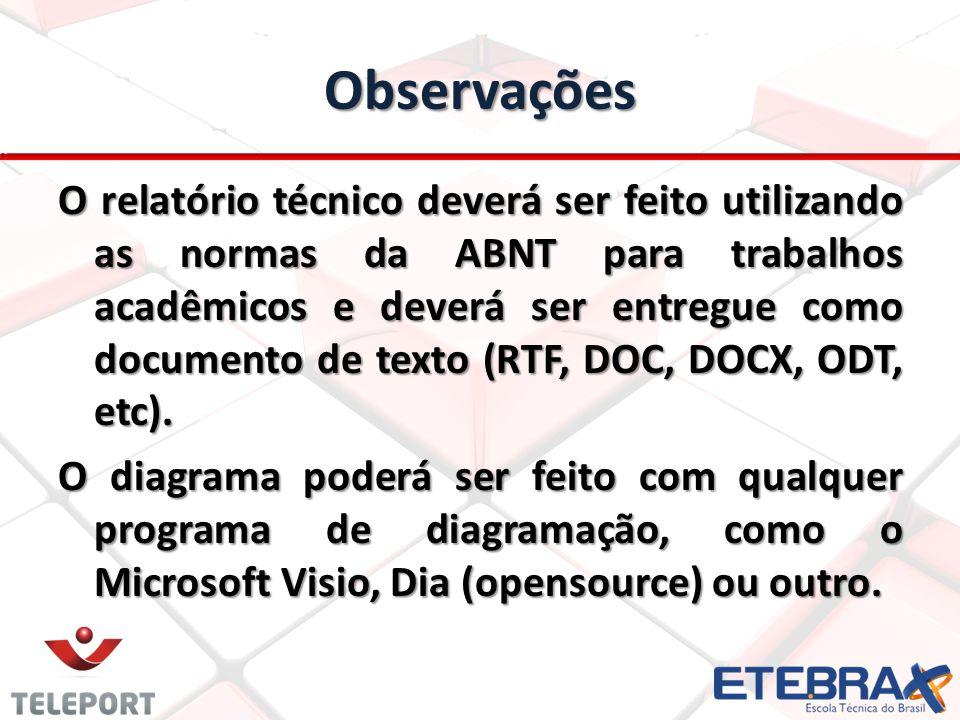 Observações O relatório técnico deverá ser feito utilizando as normas da ABNT para trabalhos acadêmicos e deverá ser entregue como documento de texto (RTF, DOC, DOCX, ODT, etc).