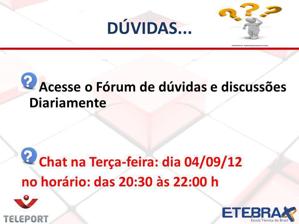 DÚVIDAS... Acesse o Fórum de dúvidas e discussões Diariamente Chat na Terça-feira: dia 04/09/12 no horário: das 20:30 às 22:00 h