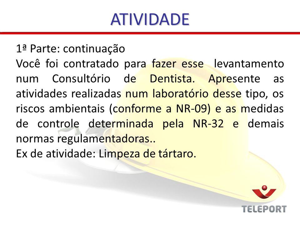 ATIVIDADE 1ª Parte: continuação Você foi contratado para fazer esse levantamento num Consultório de Dentista.