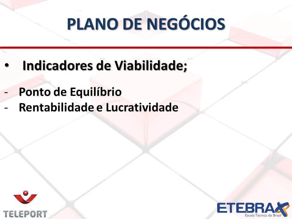 PLANO DE NEGÓCIOS Indicadores de Viabilidade; Indicadores de Viabilidade; -Ponto de Equilíbrio -Rentabilidade e Lucratividade