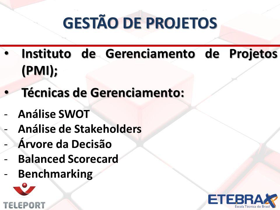 Instituto de Gerenciamento de Projetos (PMI); Instituto de Gerenciamento de Projetos (PMI); Técnicas de Gerenciamento: Técnicas de Gerenciamento: -Análise SWOT -Análise de Stakeholders -Árvore da Decisão -Balanced Scorecard -Benchmarking
