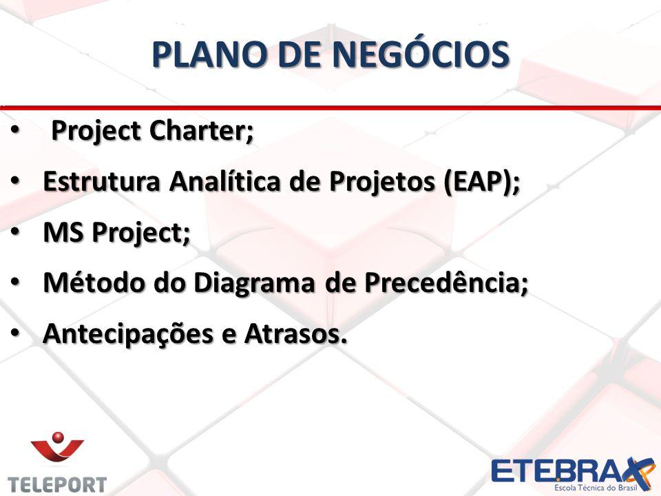 PLANO DE NEGÓCIOS Project Charter; Project Charter; Estrutura Analítica de Projetos (EAP); Estrutura Analítica de Projetos (EAP); MS Project; MS Proje