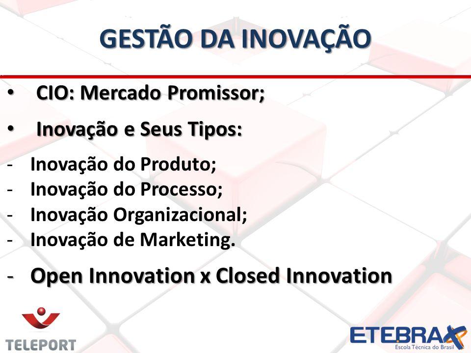 CIO: Mercado Promissor; CIO: Mercado Promissor; Inovação e Seus Tipos: Inovação e Seus Tipos: -Inovação do Produto; -Inovação do Processo; -Inovação Organizacional; -Inovação de Marketing.
