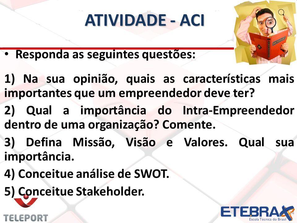 ATIVIDADE - ACI Responda as seguintes questões: 1) Na sua opinião, quais as características mais importantes que um empreendedor deve ter? 2) Qual a i