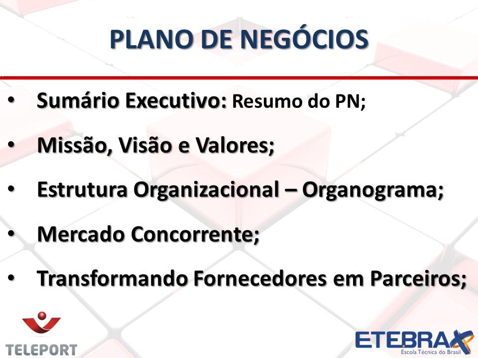 Sumário Executivo: Sumário Executivo: Resumo do PN; Missão, Visão e Valores; Missão, Visão e Valores; Estrutura Organizacional – Organograma; Estrutur