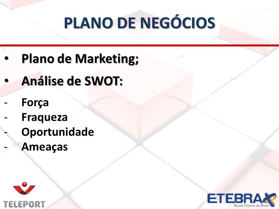 PLANO DE NEGÓCIOS Plano de Marketing; Plano de Marketing; Análise de SWOT: Análise de SWOT: -Força -Fraqueza -Oportunidade -Ameaças