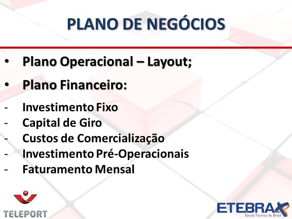 PLANO DE NEGÓCIOS Plano Operacional – Layout; Plano Operacional – Layout; Plano Financeiro: Plano Financeiro: -Investimento Fixo -Capital de Giro -Cus