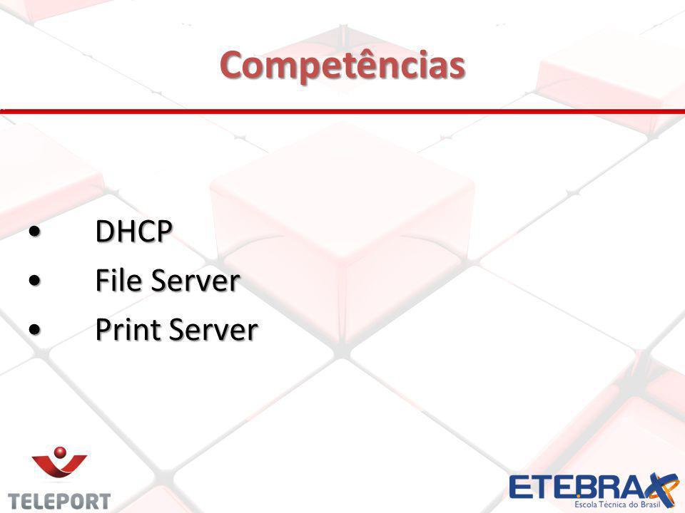 Competências DHCP DHCP File Server File Server Print Server Print Server