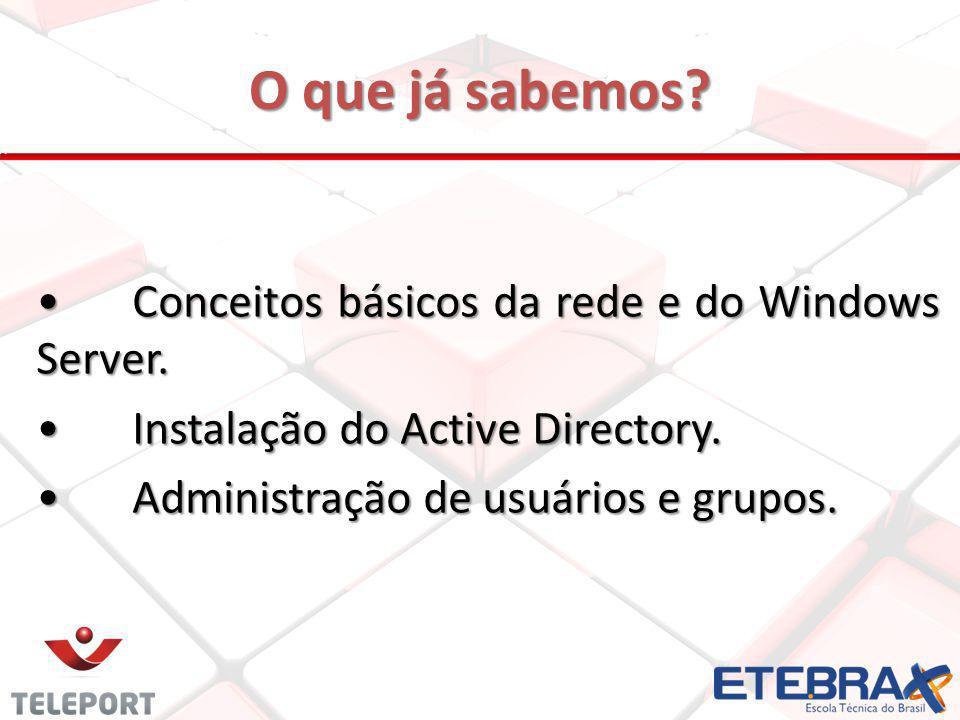 O que já sabemos? Conceitos básicos da rede e do Windows Server.Conceitos básicos da rede e do Windows Server. Instalação do Active Directory.Instalaç