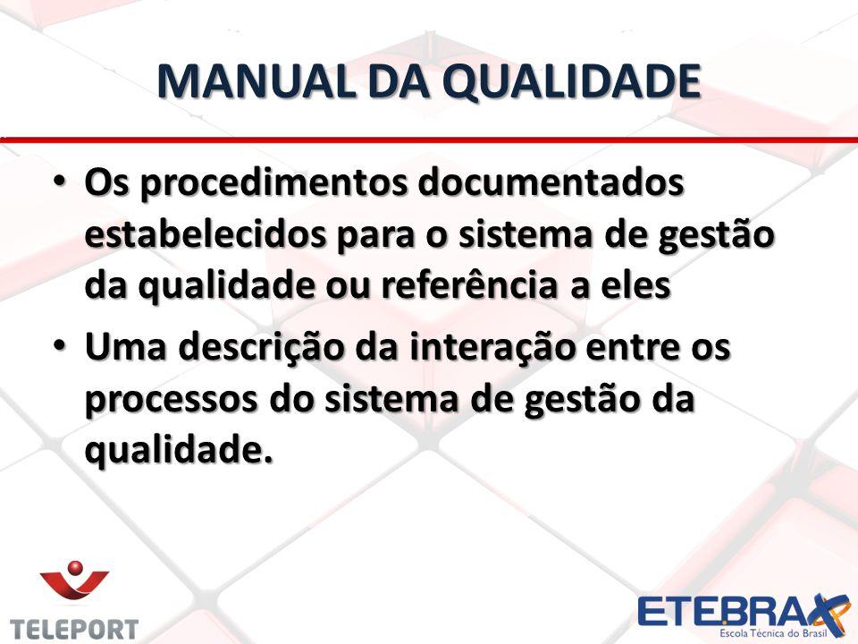 MANUAL DA QUALIDADE Os procedimentos documentados estabelecidos para o sistema de gestão da qualidade ou referência a eles Os procedimentos documentados estabelecidos para o sistema de gestão da qualidade ou referência a eles Uma descrição da interação entre os processos do sistema de gestão da qualidade.