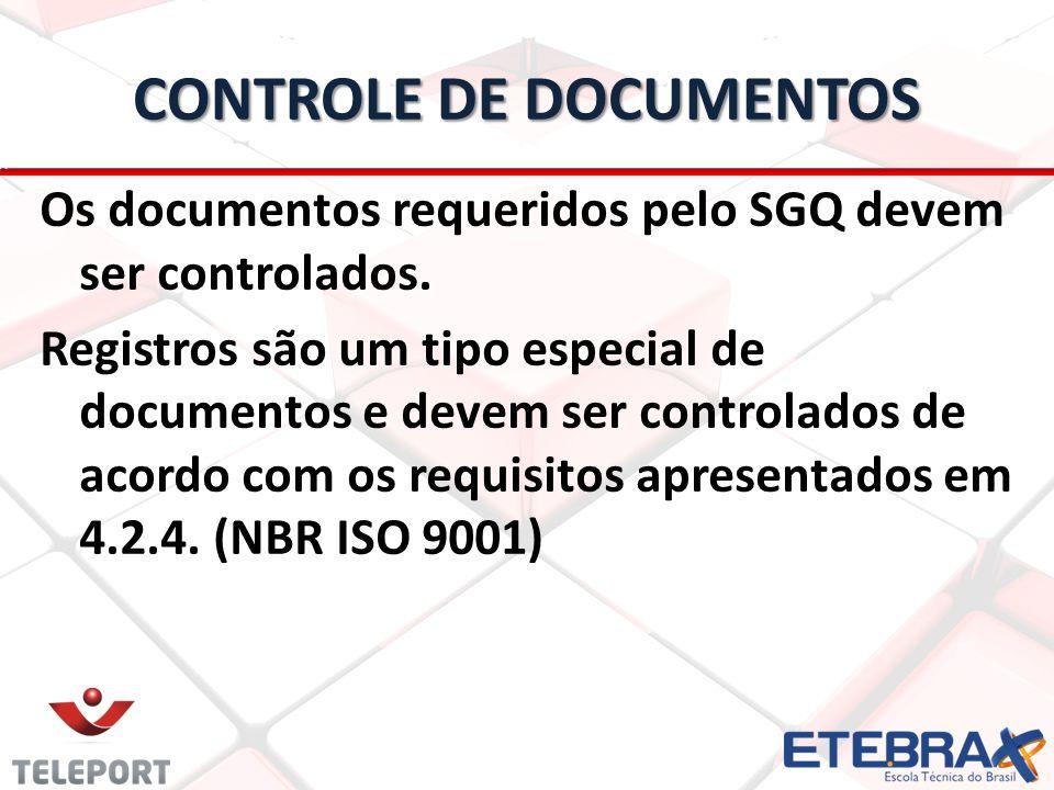CONTROLE DE DOCUMENTOS Os documentos requeridos pelo SGQ devem ser controlados.