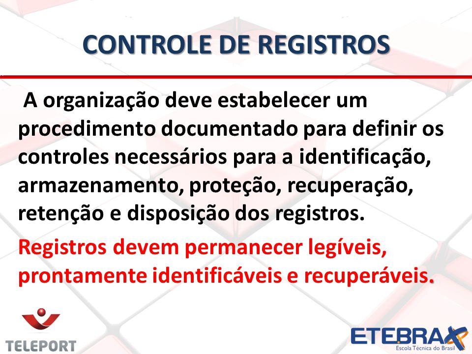 CONTROLE DE REGISTROS A organização deve estabelecer um procedimento documentado para definir os controles necessários para a identificação, armazenamento, proteção, recuperação, retenção e disposição dos registros..