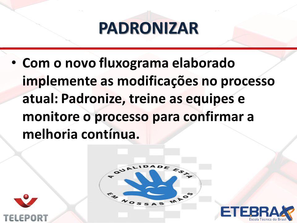 PADRONIZAR Com o novo fluxograma elaborado implemente as modificações no processo atual: Padronize, treine as equipes e monitore o processo para confirmar a melhoria contínua.