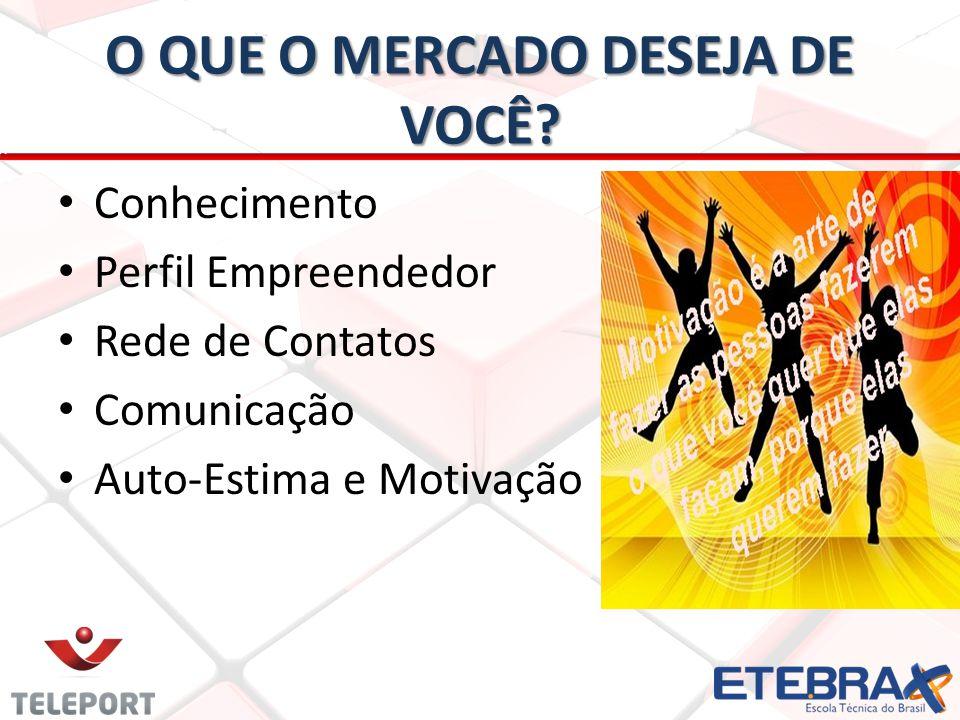 O QUE O MERCADO DESEJA DE VOCÊ? Conhecimento Perfil Empreendedor Rede de Contatos Comunicação Auto-Estima e Motivação