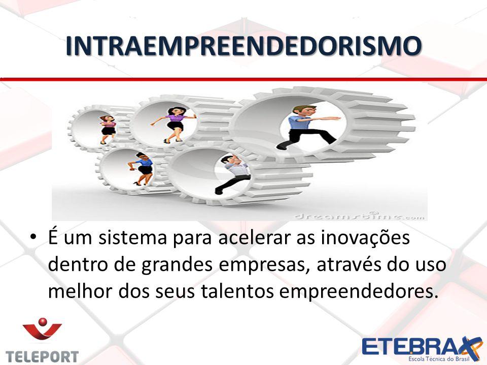 INTRAEMPREENDEDORISMO É um sistema para acelerar as inovações dentro de grandes empresas, através do uso melhor dos seus talentos empreendedores.