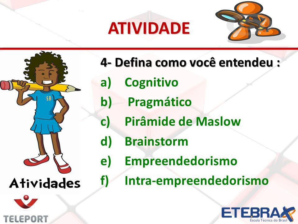 ATIVIDADE 4- Defina como você entendeu : a) a)Cognitivo b) b) Pragmático c) c)Pirâmide de Maslow d) d)Brainstorm e) e)Empreendedorismo f) f)Intra-empreendedorismo