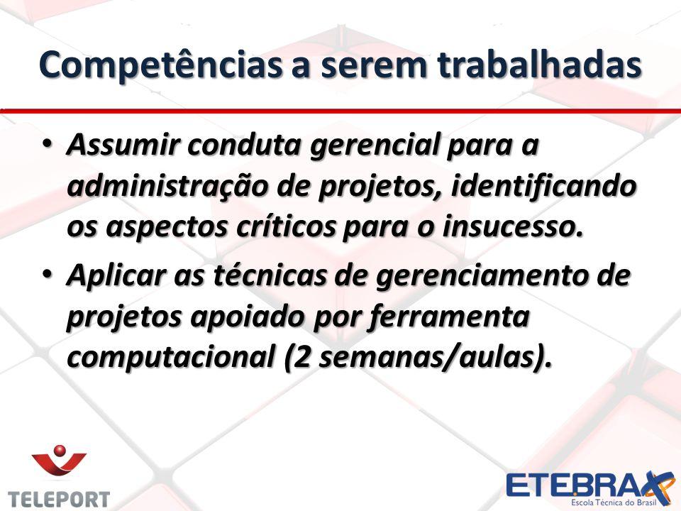 Competências a serem trabalhadas Assumir conduta gerencial para a administração de projetos, identificando os aspectos críticos para o insucesso. Assu