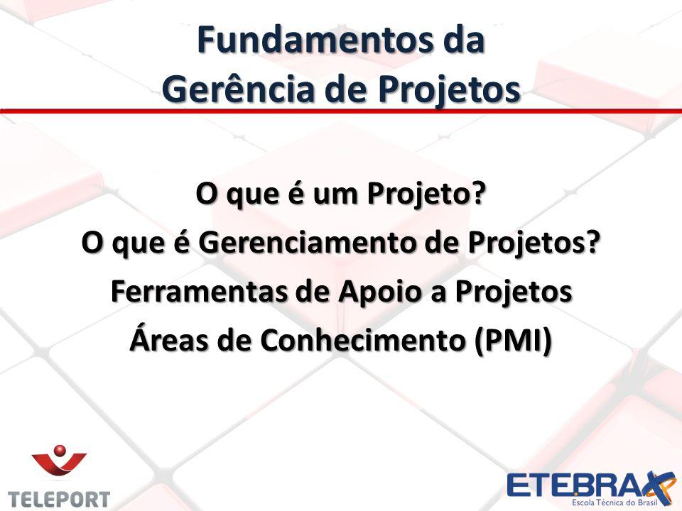 Fundamentos da Gerência de Projetos O que é um Projeto? O que é Gerenciamento de Projetos? Ferramentas de Apoio a Projetos Áreas de Conhecimento (PMI)