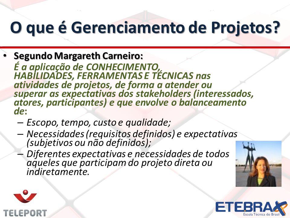 O que é Gerenciamento de Projetos? Segundo Margareth Carneiro: Segundo Margareth Carneiro: É a aplicação de CONHECIMENTO, HABILIDADES, FERRAMENTAS E T
