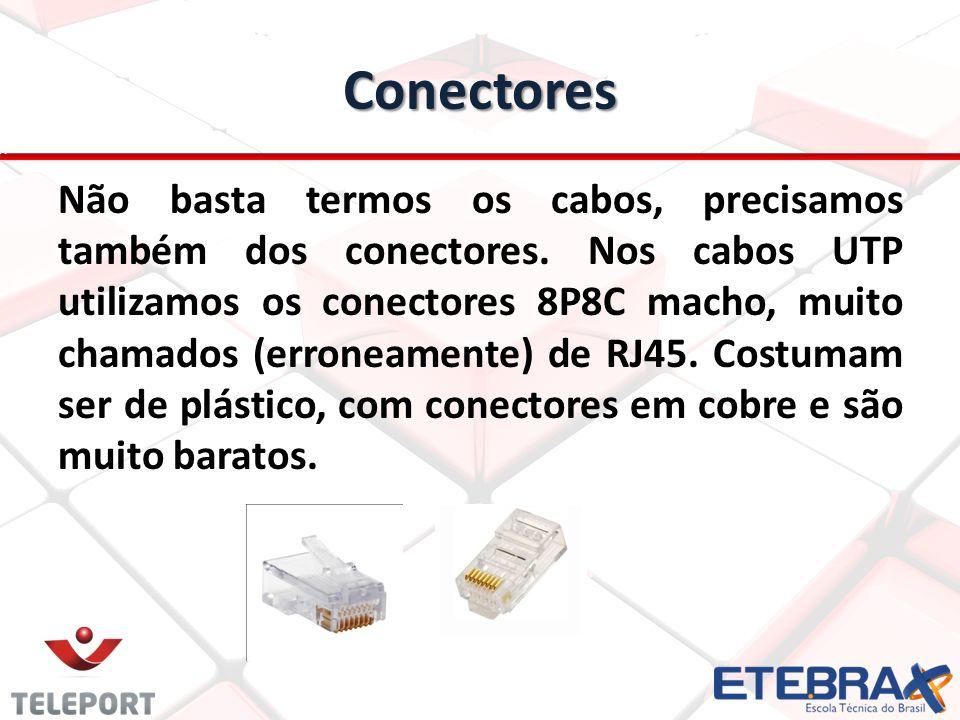 Conectores Não basta termos os cabos, precisamos também dos conectores. Nos cabos UTP utilizamos os conectores 8P8C macho, muito chamados (erroneament