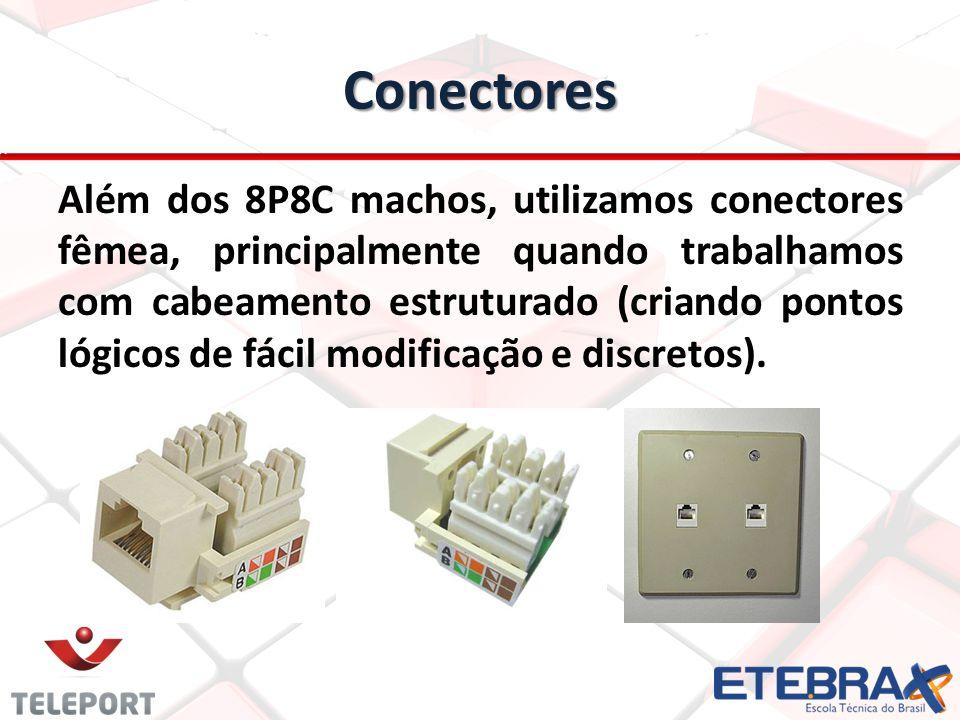 Conectores Além dos 8P8C machos, utilizamos conectores fêmea, principalmente quando trabalhamos com cabeamento estruturado (criando pontos lógicos de
