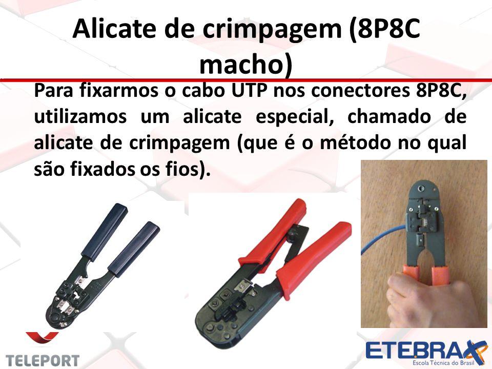 Alicate de crimpagem (8P8C macho) Para fixarmos o cabo UTP nos conectores 8P8C, utilizamos um alicate especial, chamado de alicate de crimpagem (que é