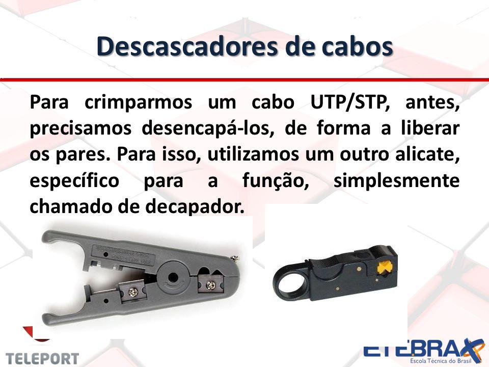 Descascadores de cabos Para crimparmos um cabo UTP/STP, antes, precisamos desencapá-los, de forma a liberar os pares. Para isso, utilizamos um outro a