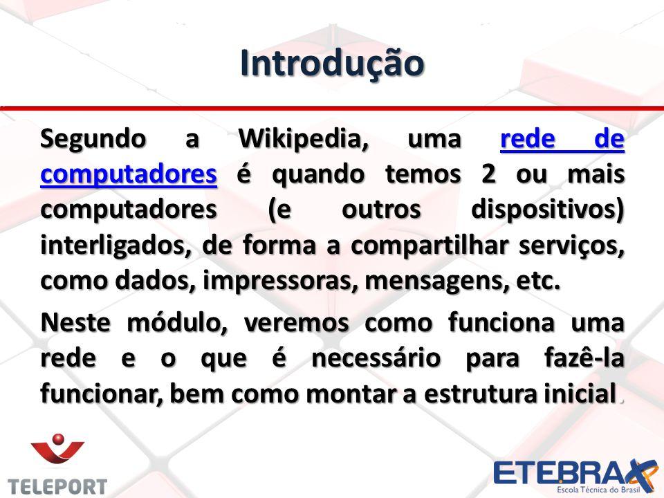Introdução Segundo a Wikipedia, uma rede de computadores é quando temos 2 ou mais computadores (e outros dispositivos) interligados, de forma a compar