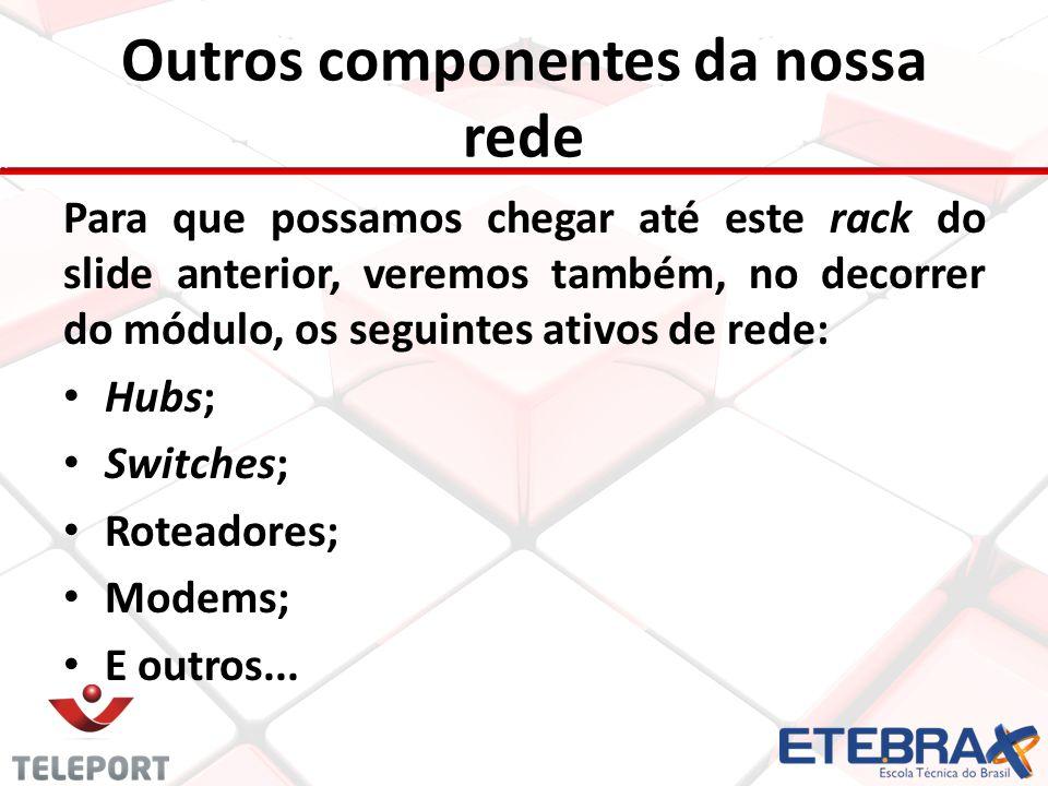 Outros componentes da nossa rede Para que possamos chegar até este rack do slide anterior, veremos também, no decorrer do módulo, os seguintes ativos