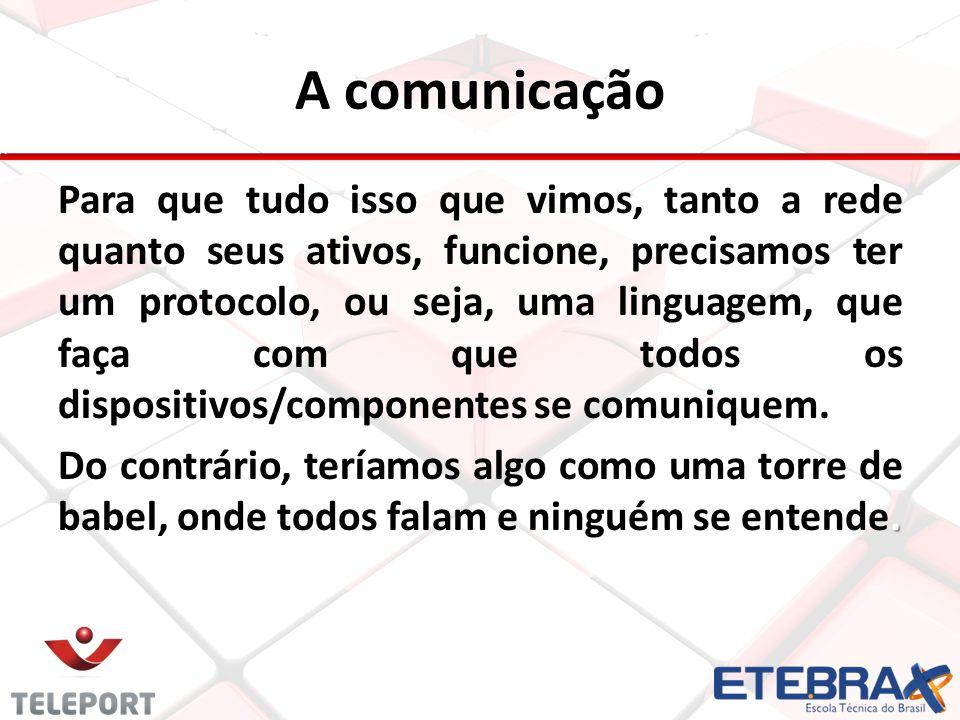 A comunicação Para que tudo isso que vimos, tanto a rede quanto seus ativos, funcione, precisamos ter um protocolo, ou seja, uma linguagem, que faça c