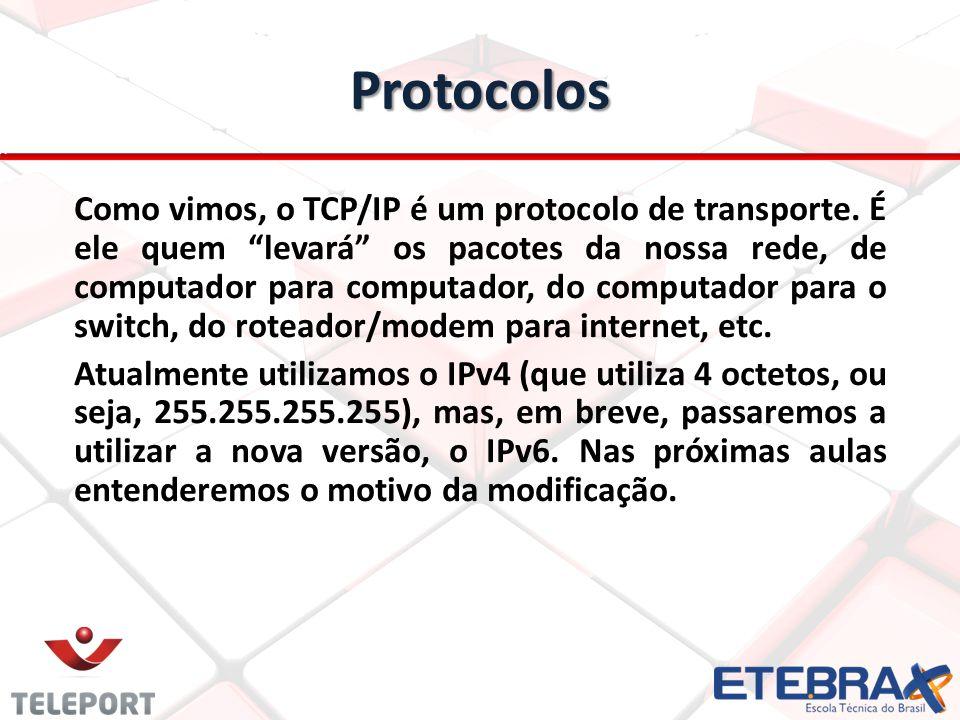Protocolos Como vimos, o TCP/IP é um protocolo de transporte. É ele quem levará os pacotes da nossa rede, de computador para computador, do computador