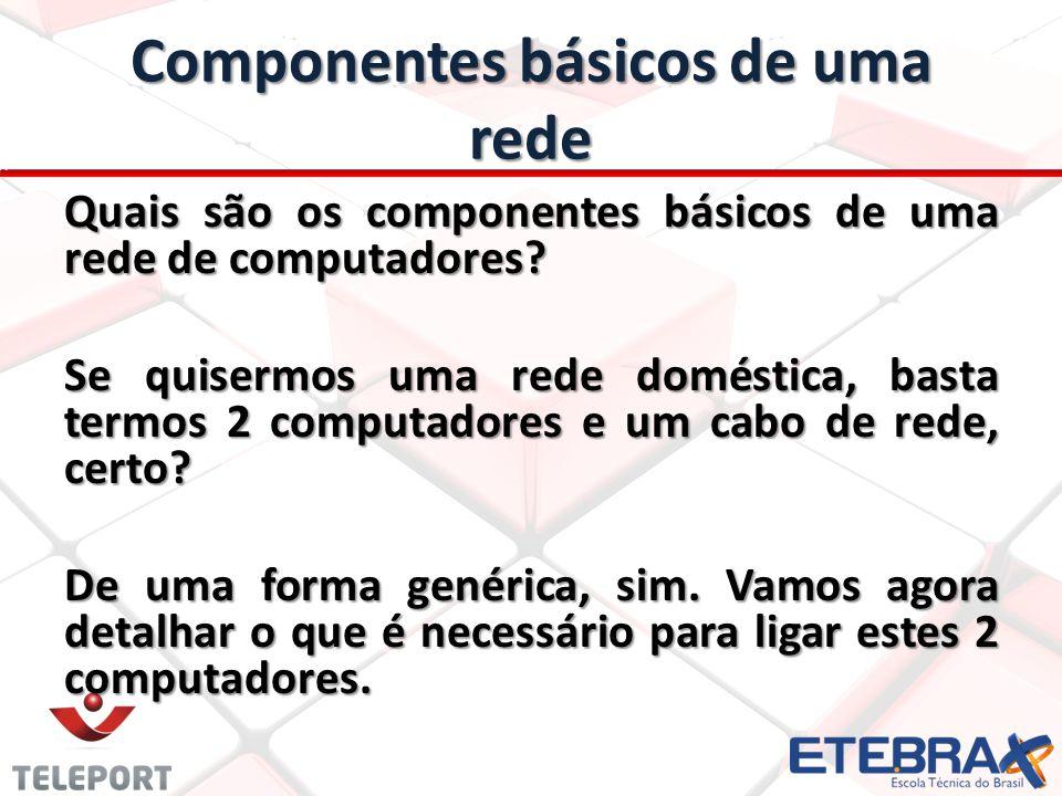 Componentes básicos de uma rede Quais são os componentes básicos de uma rede de computadores? Se quisermos uma rede doméstica, basta termos 2 computad