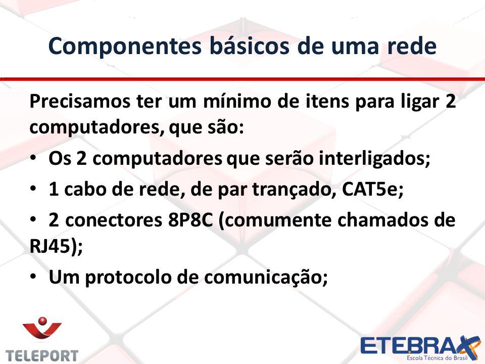 Cabos Existem outros cabos, nas categorias CAT6, CAT6a e CAT7, normalmente utilizados em servidores e redes gigabit.