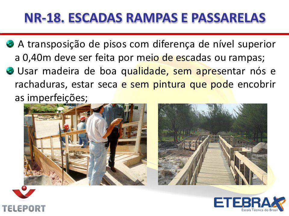 NR-18. ESCADAS RAMPAS E PASSARELAS A transposição de pisos com diferença de nível superior a 0,40m deve ser feita por meio de escadas ou rampas; Usar