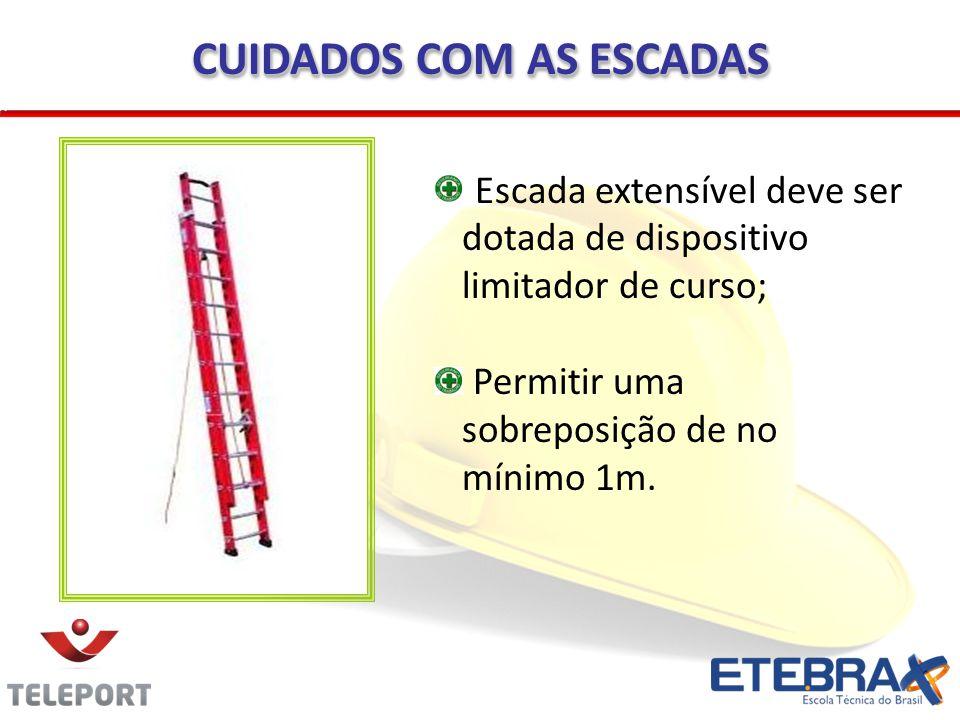 Escada extensível deve ser dotada de dispositivo limitador de curso; Permitir uma sobreposição de no mínimo 1m. CUIDADOS COM AS ESCADAS