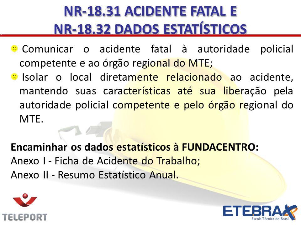 Comunicar o acidente fatal à autoridade policial competente e ao órgão regional do MTE; Isolar o local diretamente relacionado ao acidente, mantendo s