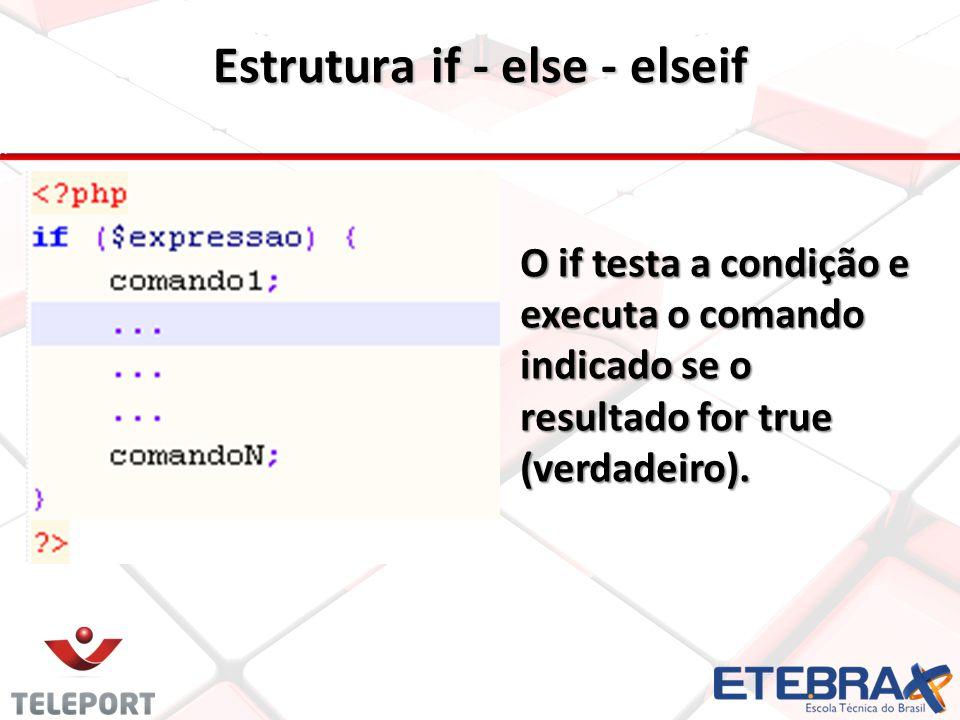 Estrutura if - else - elseif O if testa a condição e executa o comando indicado se o resultado for true (verdadeiro).