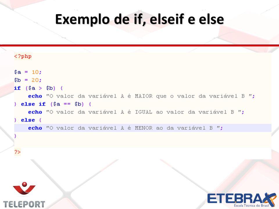 Exemplo de if, elseif e else